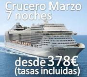 CRUCERO MARZO MEDITERRANEO DESDE 378€ (TASAS INCLUIDAS)