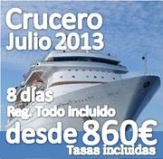 Crucero Mediterráneo Julio::: 8 Días :: Regimen Todo Incluido::