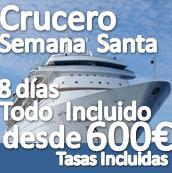 """Crucero por el Mediterráneo """"Especial Semana Santa"""" 8 Días:: 400€+200€ tasas=600€::Reg.Todo Incluido"""