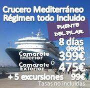 Crucero Mediterraneo :: 8 Días 7 noches :: Régimen Todo Incluido (con paquete de 5 excursiones) :: GRUPO CONFIRMADO