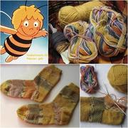 Biene-Maja-Socken im Broken Seed Stitch