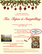 TODAY ONLY - CYBER MONDAY / $15 OFF - TEA, TAPAS & STORYTELLING