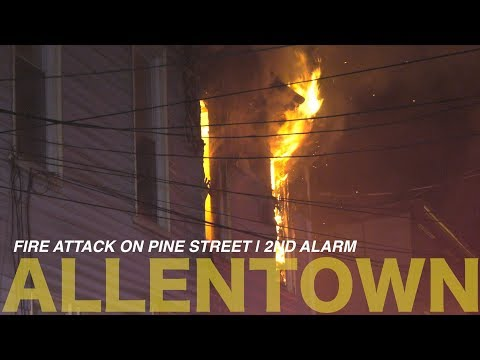 Early fire attack on a 2nd alarm house fire in Allentown, Pennsylvania
