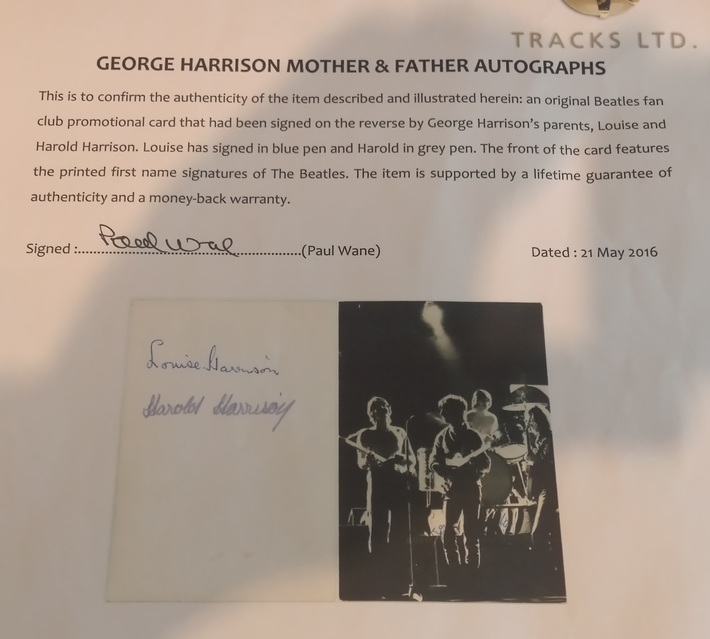 Tracks UK COA For George Harrison's Parents Autographs