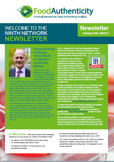 The Food Authenticity Network Newsletter - Issue 9 is now available
