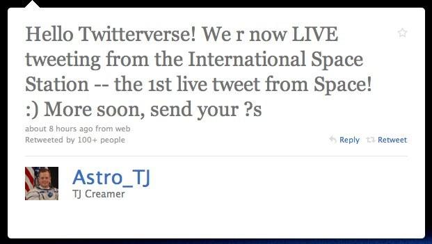 space tweet