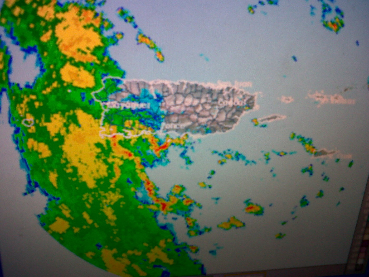A little rain on the west part of the island