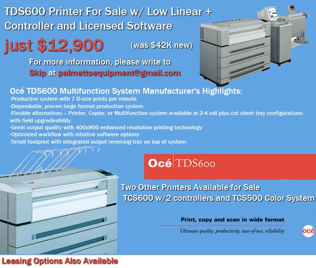 Oce TDS 600 Large Format Printer for Sale