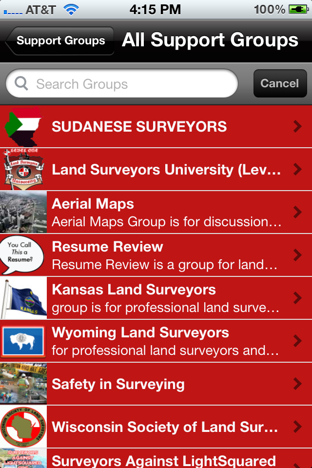 surveyor support groups mobile preview
