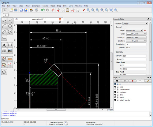 QCAD Free CAD software