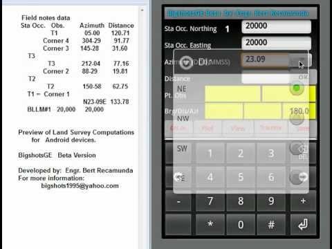 BigshotsGE:  Land Survey Computation using Android Phone or TabletPC