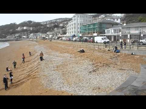 Levelling students survey the natural beach, Ventnor Bay