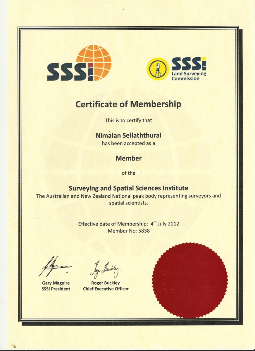 Certificate of Membership at SSSI (Australia)