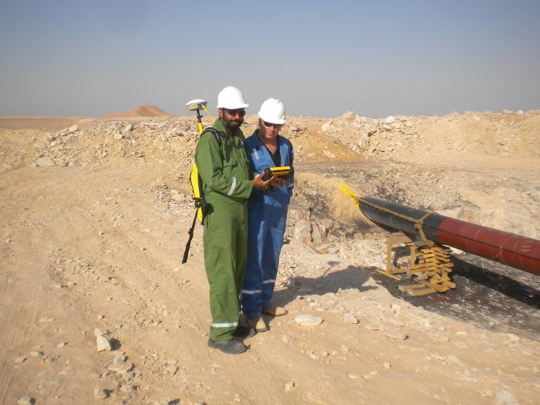with trimble GIS on the site for GAS line in OMAN