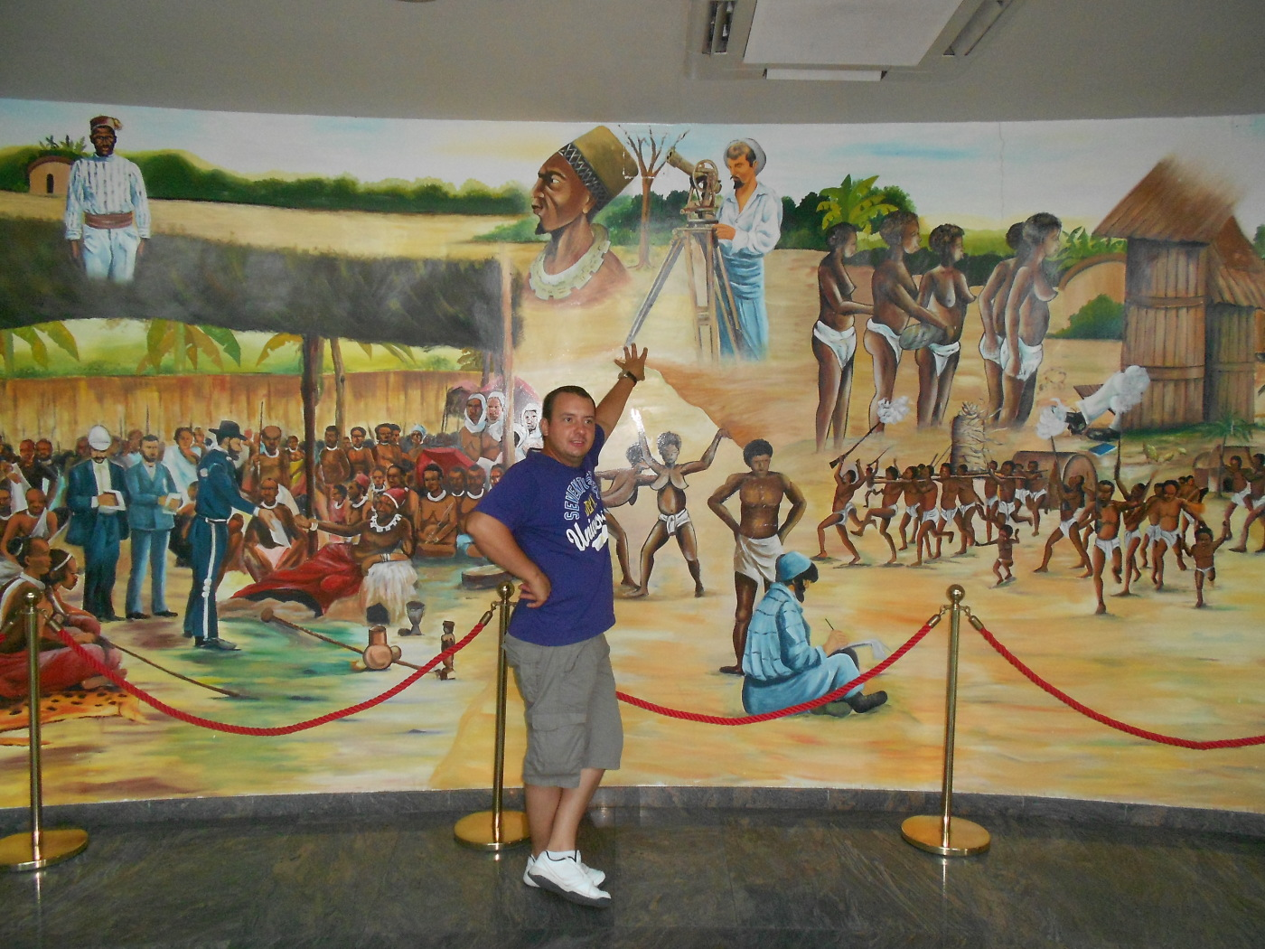Picture painted on the wall inside the Memorial Museum Pierre Savorgnan de Brazza In Brazzaville French Congo