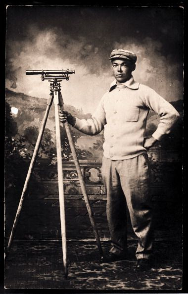 A young man with a theodolite on a tripod