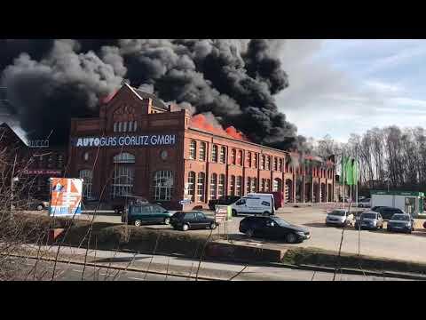 Big Fire at  Autoglas Görlitz GmbH  25.02.2019, Germany