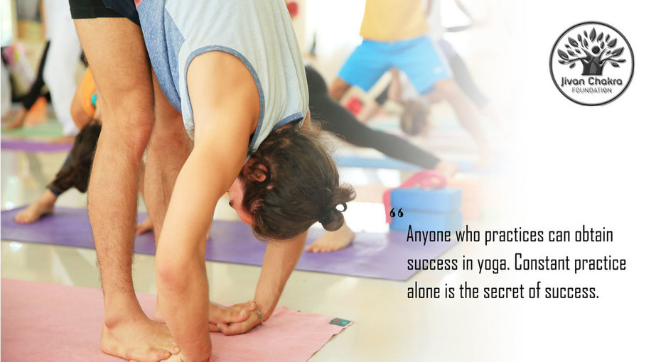 """""""Anyone who practices can obtain success in yoga but not one who is lazy. Constant practice alone is the secret of success."""