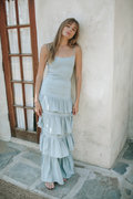 Blue Ruffle Dress for Bridesmaids