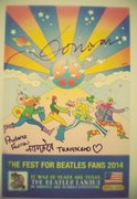 Donovan and Prudence Farrow (inscribed transend) signed Yellow Submarine design print