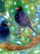 Black Birds in the Apple Tree