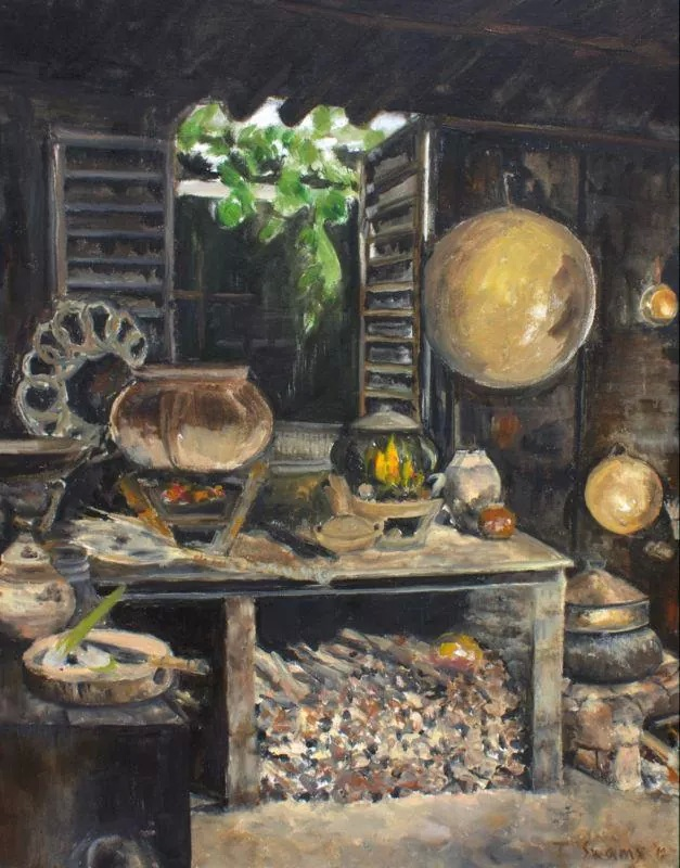 "18""x24"" Vietnamese Kitchen: Oil on Canvas"