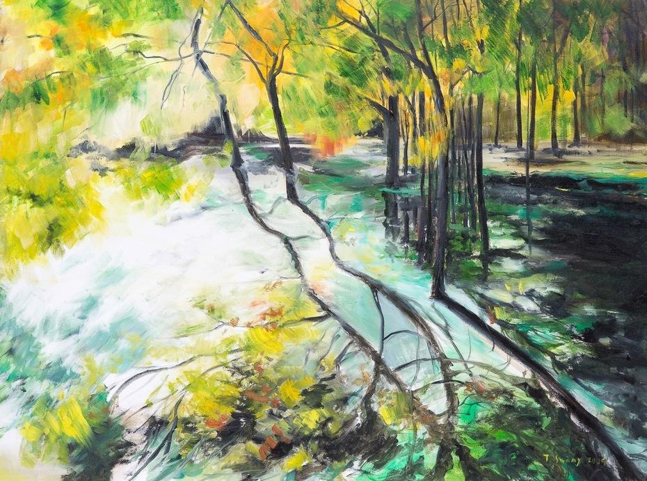 """30""""x40"""" SPRING BLOSSOMS IN MASINAGUDI: Oil on Canvas"""