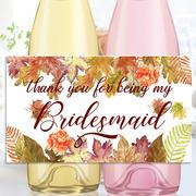 Bridesmaid Wine Label, Wedding, Bridal Party Wine Labels