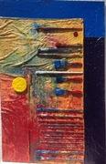 Neuntes Selbstbildnis 2017 75cm x 115cm Öl Acryl 20 Pinsel Stoff ein Farbdosendeckel auf Leinwand