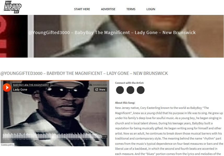 "DAILY HIPHOP JAMZ_HEAR THE HIT SINGLE ""LADY GONE"" BY BABYBOY aka THE MAGNIFICENT..  http://www.dailyhiphopjamz.com/younggifted3000-babyboy-the-magnificent-lady-gone-video-new-brunswick/"