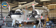 Gruman C-1 A-trader Jacked up for repair