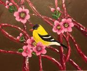 Yellow bird on Canvas board