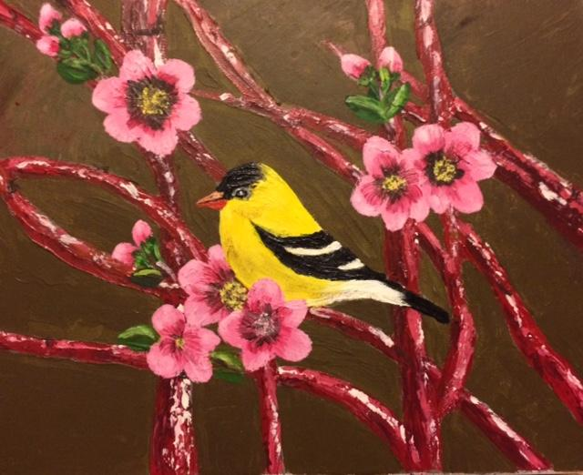 Yellow bird on Canvas board