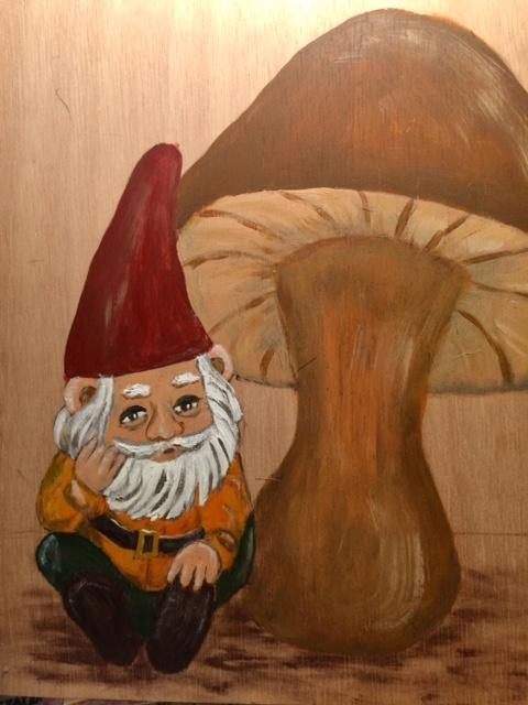 Gnome on wood