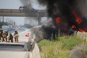 Semi Tractor Trailer fire on I-35E