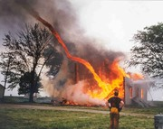 Fire Tornado at house burn in Illinois