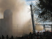 Kewaskum Ladder 1  at 5-3-09 Barn fire