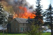 Kewaskum Barn fire 5-3-09. No standing exposures lost.