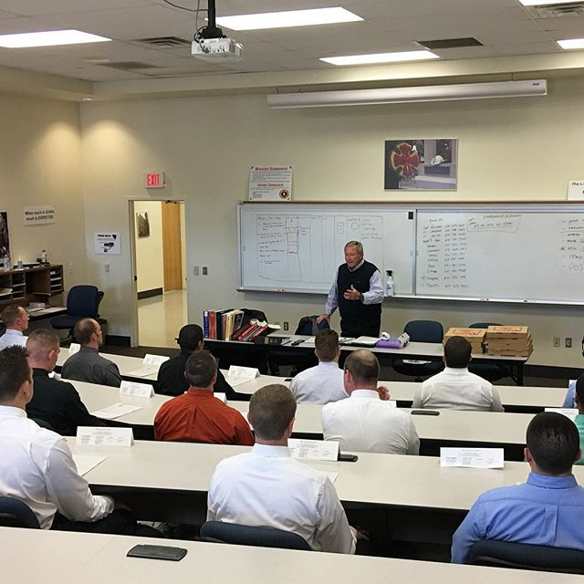 Brian with Bill Capretta speaking to Columbus Ohio Fire Recruits