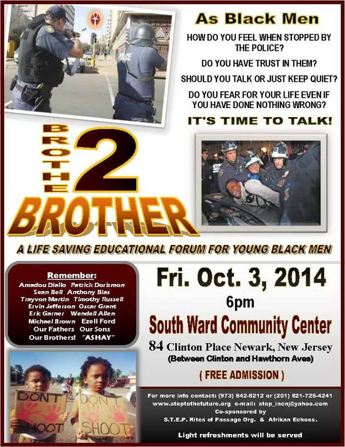 How do you feel when stopped by the police? Let's talk about it, Brother 2 Brother, Newark NJ