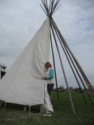 Building up our tipi in the spring 2013