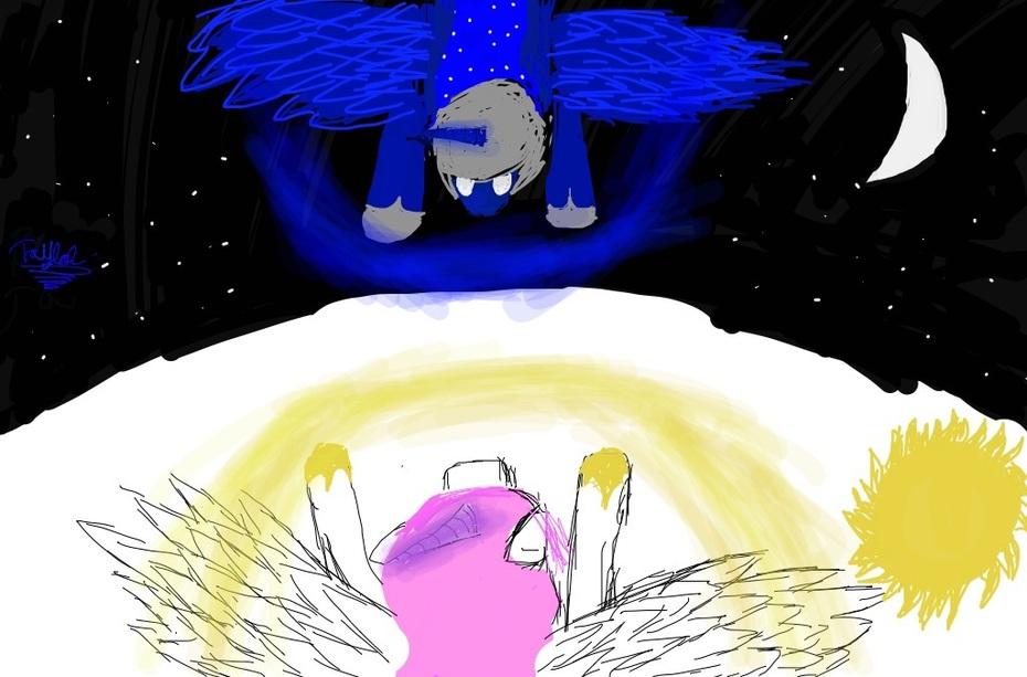 Celestia and nightmare moon battle