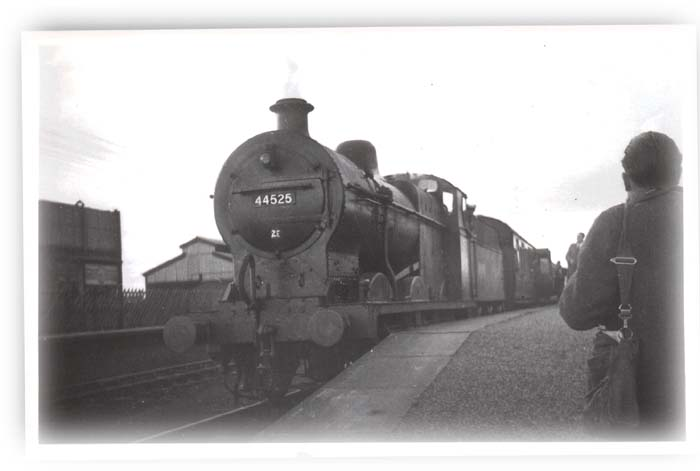 44525 waits at Stratford with last train to Blisworth 1952