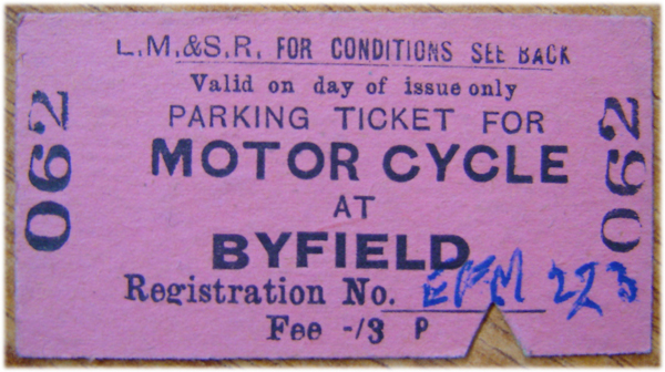Byfield motorcycle parking ticket