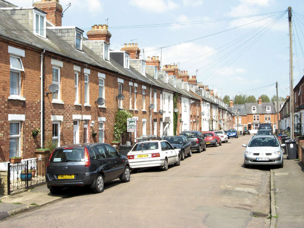 Former GC railwaymen's homes at Woodford. The one with bay windows would have been occupied by a foreman.