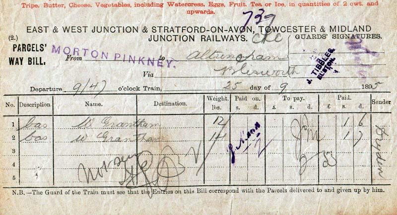 Parcels way bill Morton Pinkney 1895