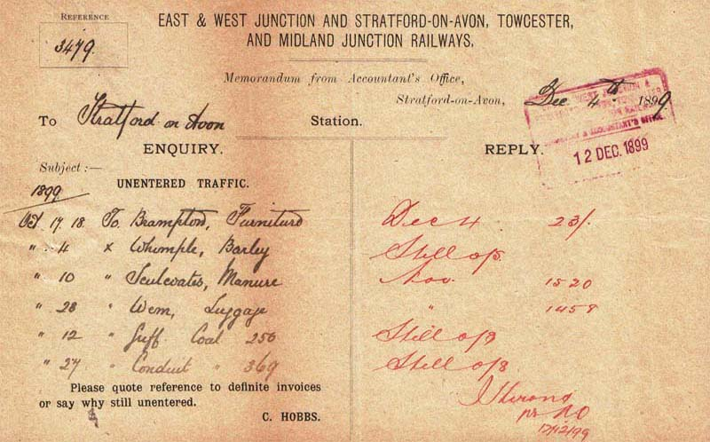 E&W Enquiry about Unentered traffic Form 1899