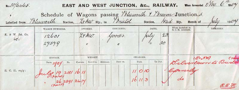 E&W schedule of wagons passing form 1907