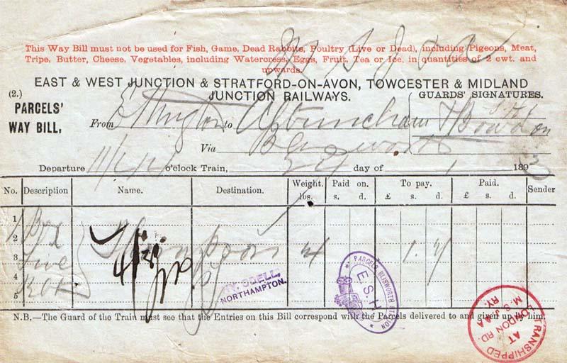 E&W way bill 1893