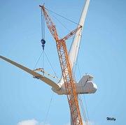 Wind turbines, Mason County Michigan. Close up of blade installation